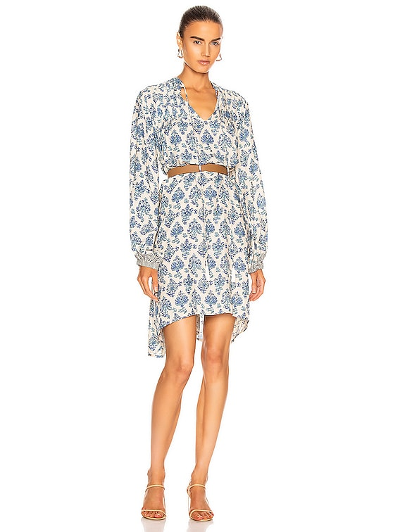 Lizzy Short Dress in Cyprus Print Blue