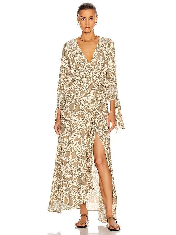 Danika Long Sleeve Dress in Wing Print Paros Tan