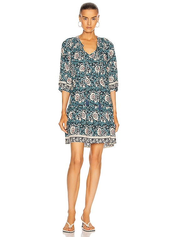 Stevie Dress in Vintage Flowers Turquoise