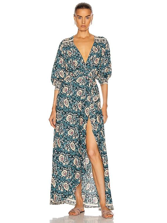 Kate Long Sleeve Dress in Vintage Flowers Turquoise