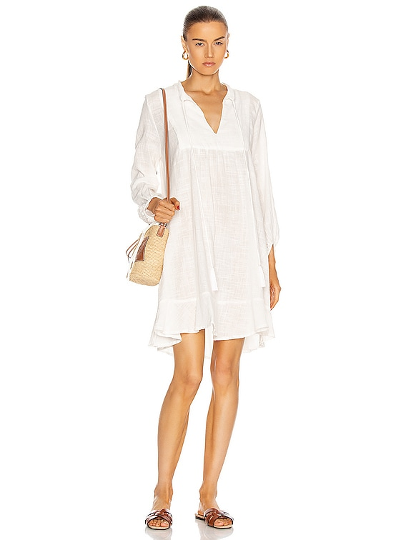 Sasha Dress in White Cotton Gauze