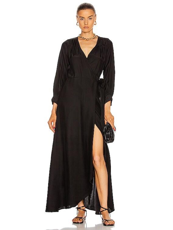 Kate Long Sleeve Dress in Black Silk