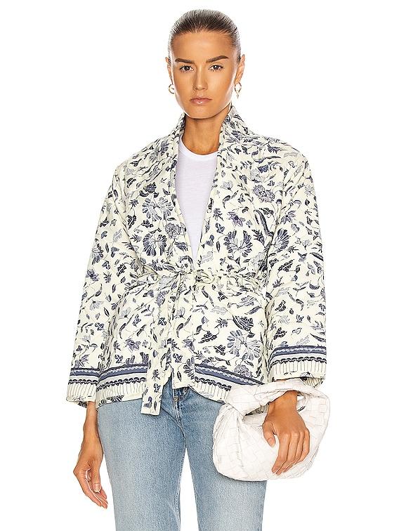 Nina Jacket With Sash in Wildflower Blue