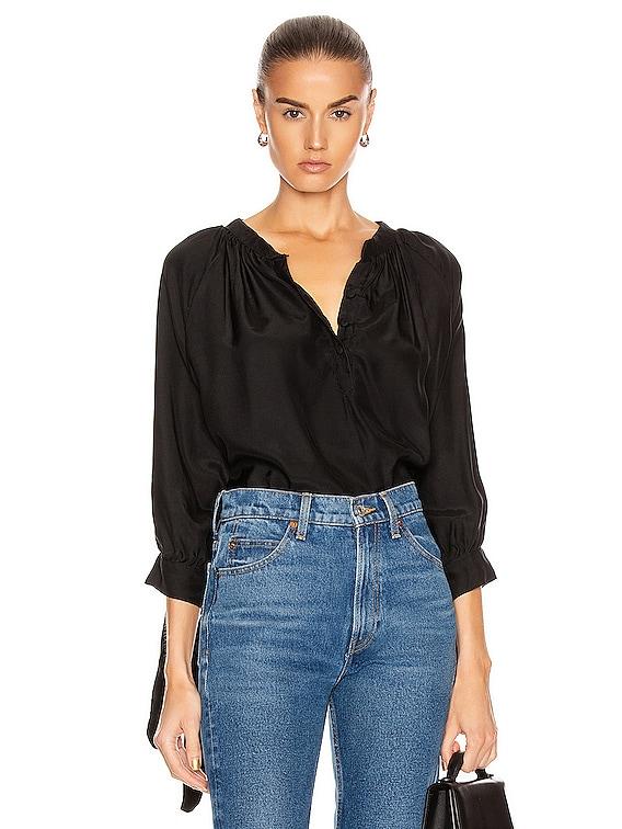 Renata Shirt in Black Silk