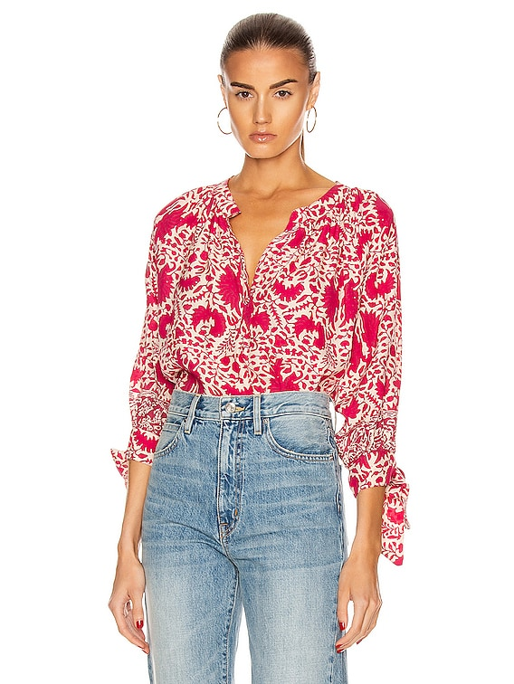 Renata Shirt in Wing Print Bougainvillea Pink