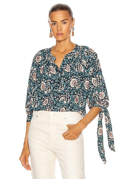 Renata Shirt in Vintage Flowers Turquoise