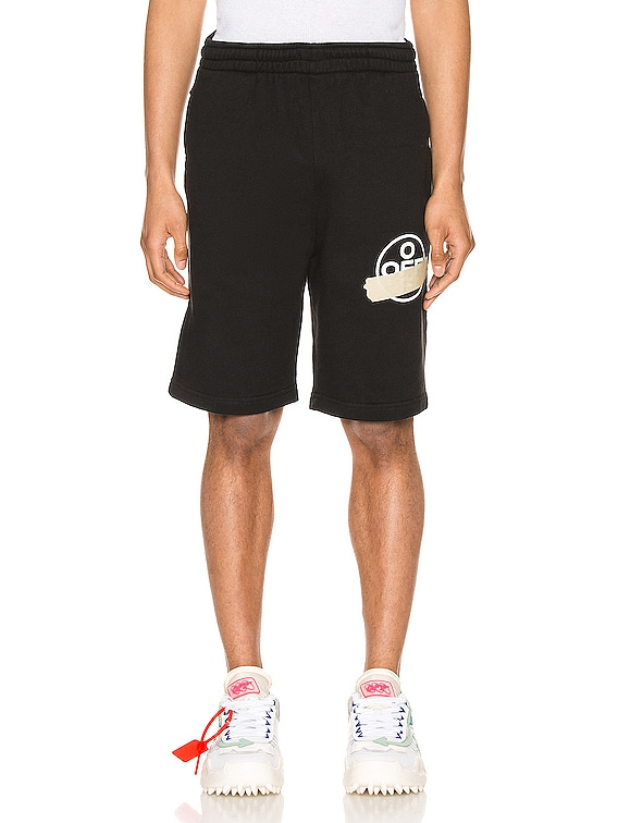 Tape Arrows Sweatshorts in Black & Beige