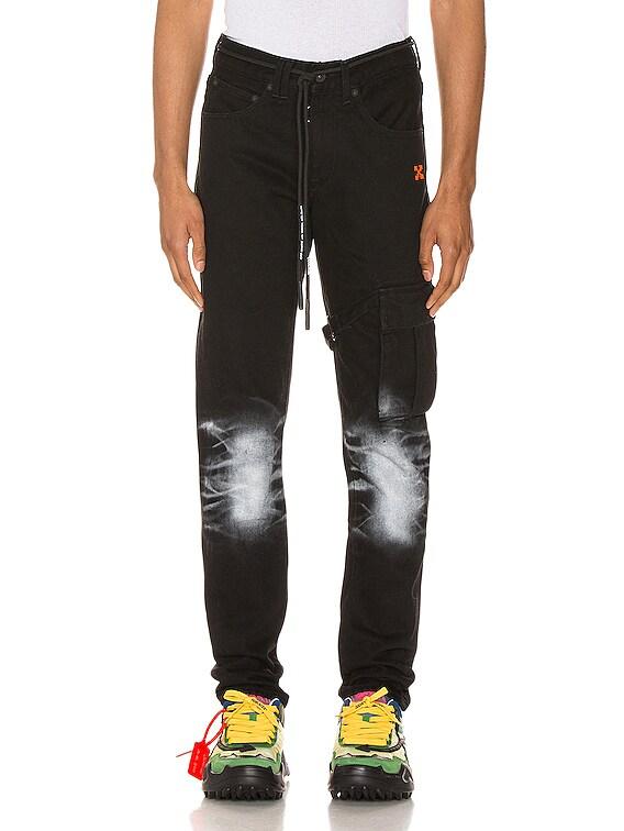 Slim Asymmetric Jeans in Black