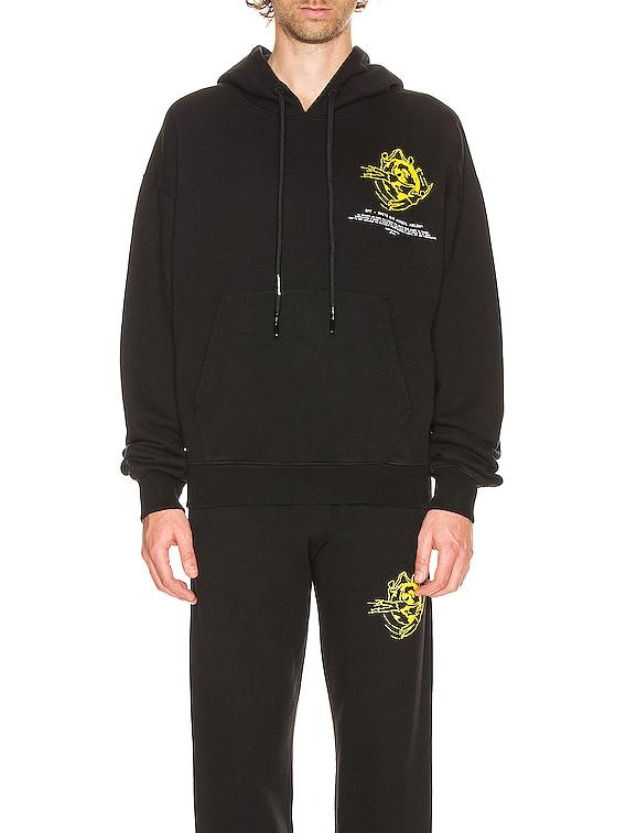 Multi Symbols Hoodie in Black & Yellow