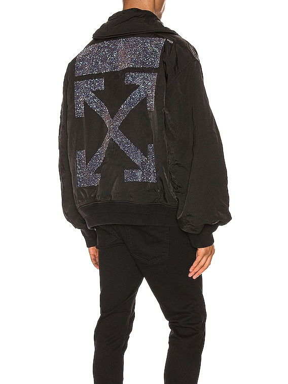 Arrow Garment Dyed Bomber in Black & Silver