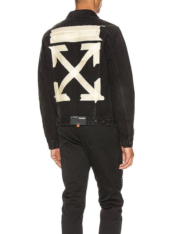 Tape Arrows Slim Jeans Jacket in Black Beige