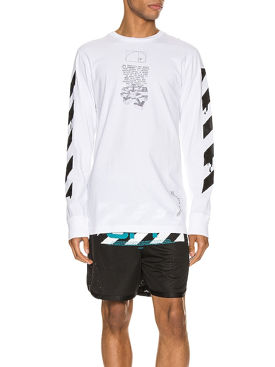 Dripping Arrows Long Sleeve Tee in White & Black
