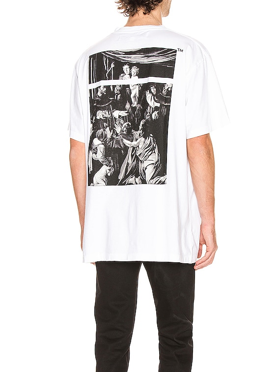 Caravaggio Square Short Sleeve Tee in White & Multi