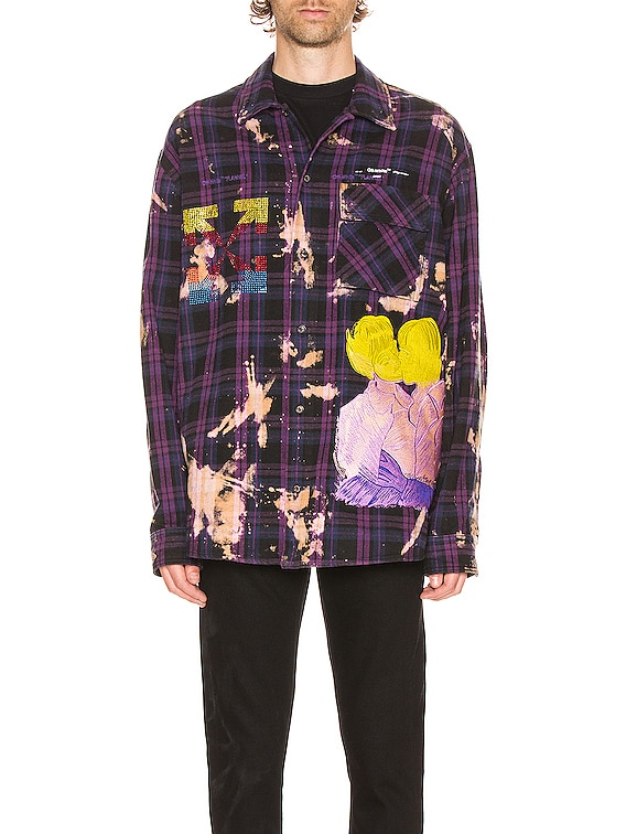 Flannel Check Shirt in Violet & Multi