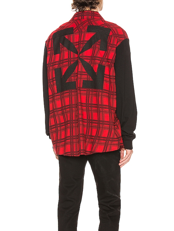 Contrast Sleeve Shirt in Red & Black