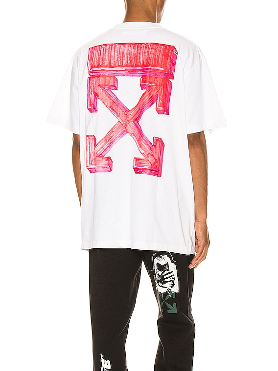 Marker Over Tee in White & Red