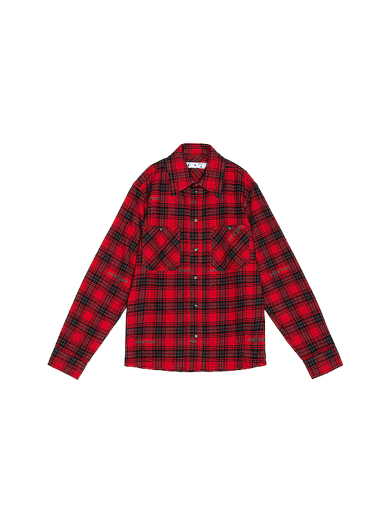 Stencil Flannel Check Shirt in Red & Black