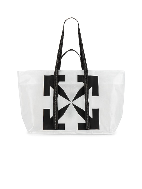 Arrow Tyvek Tote Bag in Transparent & Black