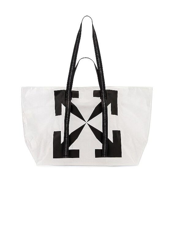 Arrow PVC Tote Bag in White & Black
