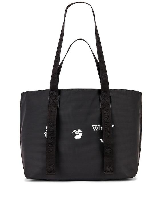 OW Logo PVC Small Tote Bag in Black & White