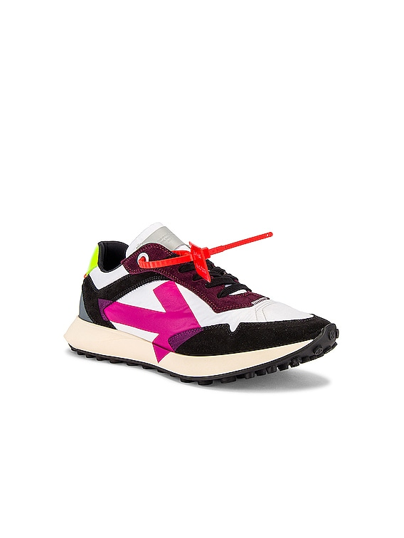 Arrow Sneakers in White & Fuchsia
