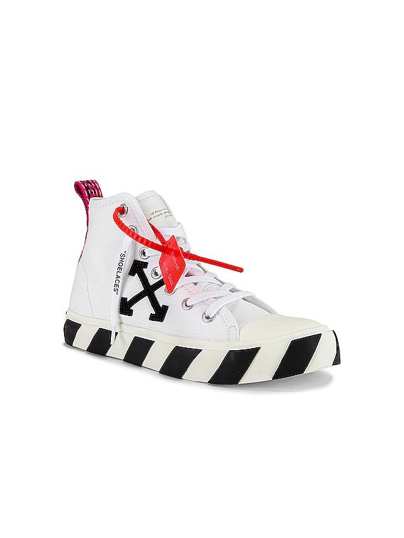 Mid Top Sneaker in White & Black