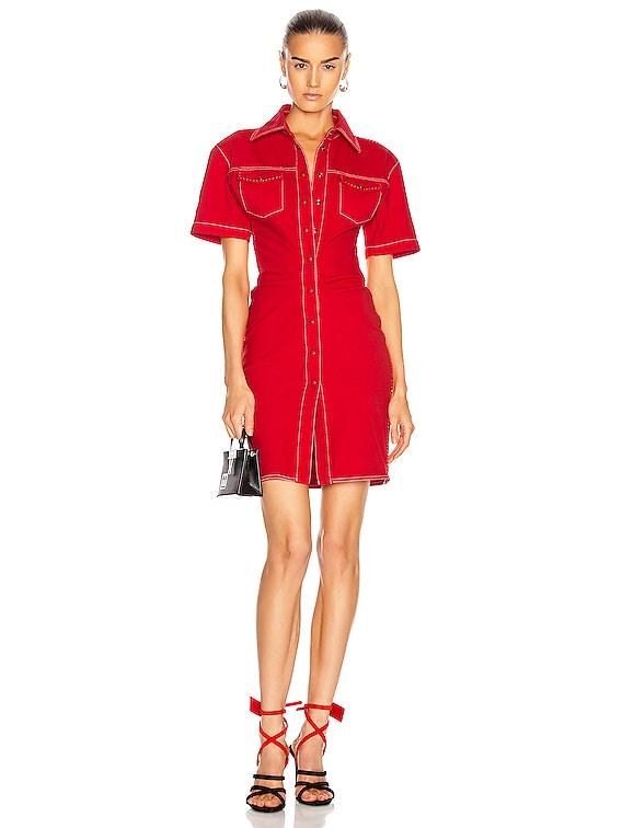 Denim Dress in Red