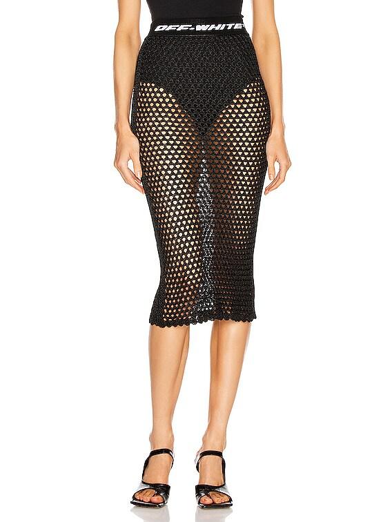 Knit Fishnet Skirt in Black