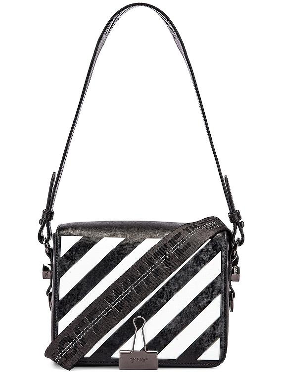 Diagonal Flap Bag in Black & White