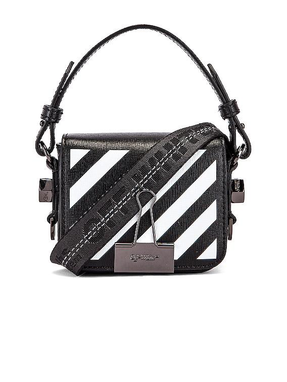 Diagonal Baby Flap Bag in Black & White