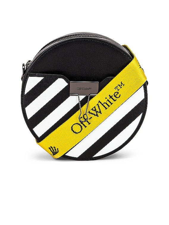 Diagonal Round Bag in Black & White