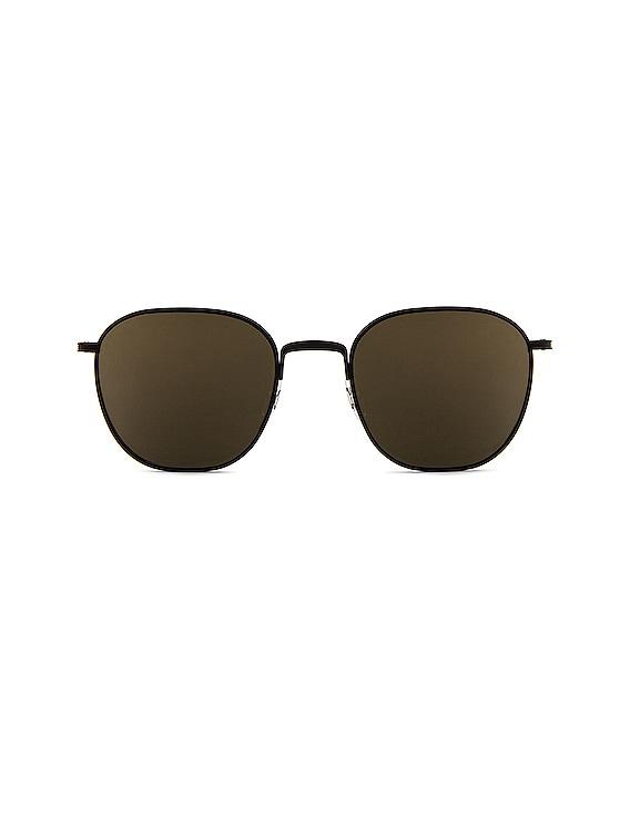 x The Row Board Meeting 2 Sunglasses in Matte Black & Dark Grey Mirror Gold