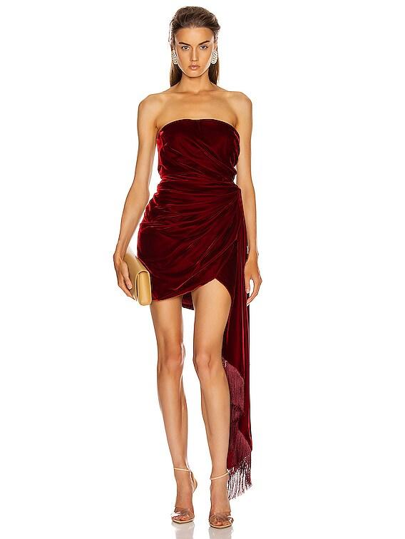 Strapless Cocktail Dress in Claret