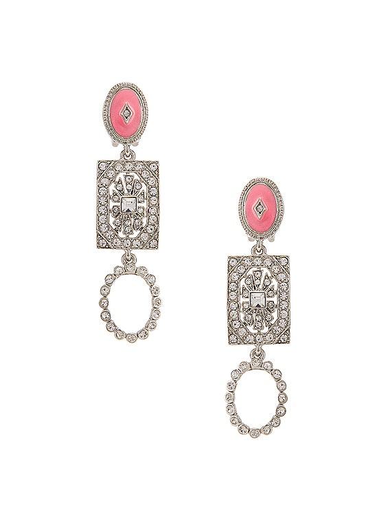 Jeweled Drop Earrings in Silver Multi