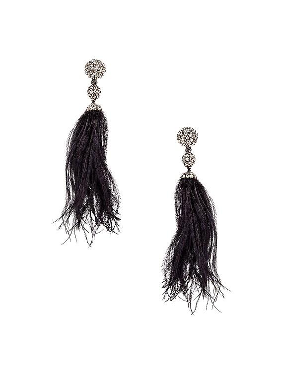Long Beaded Feather Earrings in Black