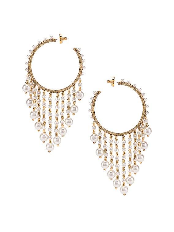 Hoop Drop Earrings in White