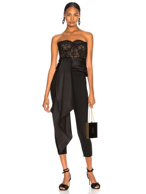 Asymmetric Hem Strapless Lace Bustier in Black & Black