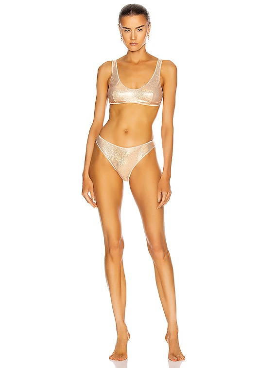 Metallic Sporty Two Piece in Nude