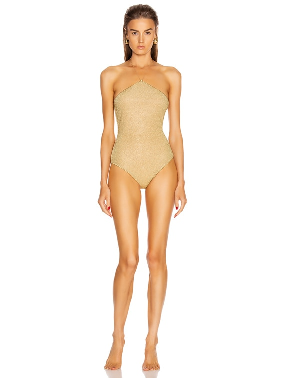 Neckless Maillot Swimsuit in Gold
