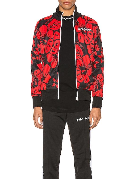 Hawaiian Track Jacket in Black & Red