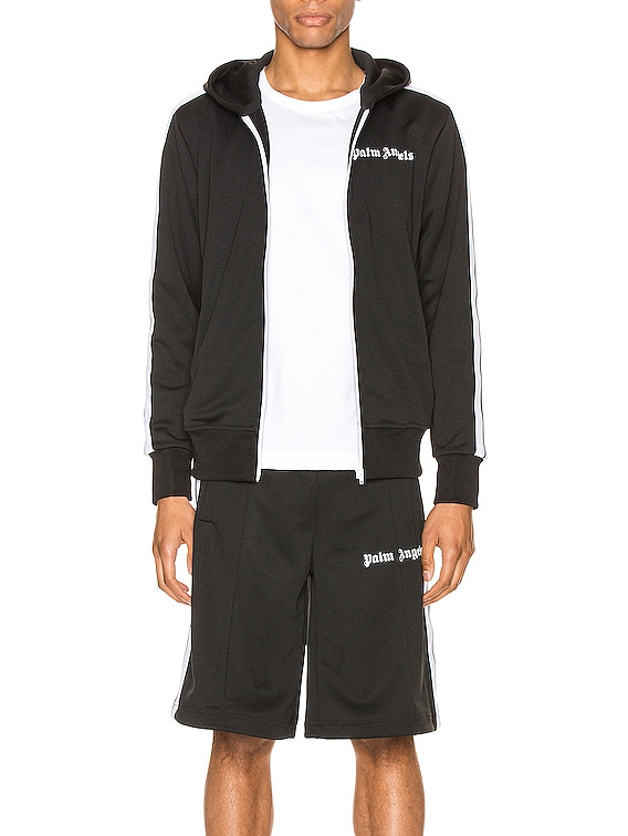 Hooded Track Jacket in Black & White