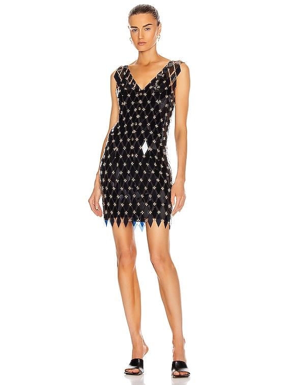Sleeveless Embellished Mini Dress in Navy & Dark Grey