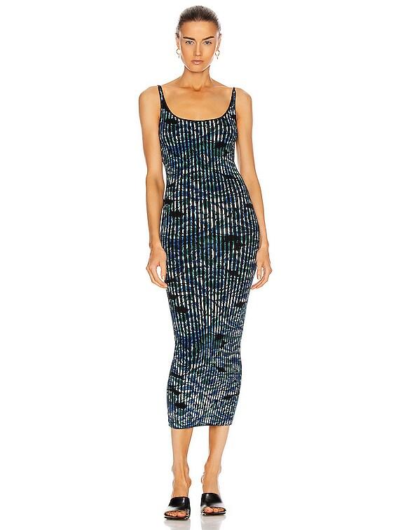 Pleated Sleeveless Maxi Dress in Blue Hortensia Acid Flow