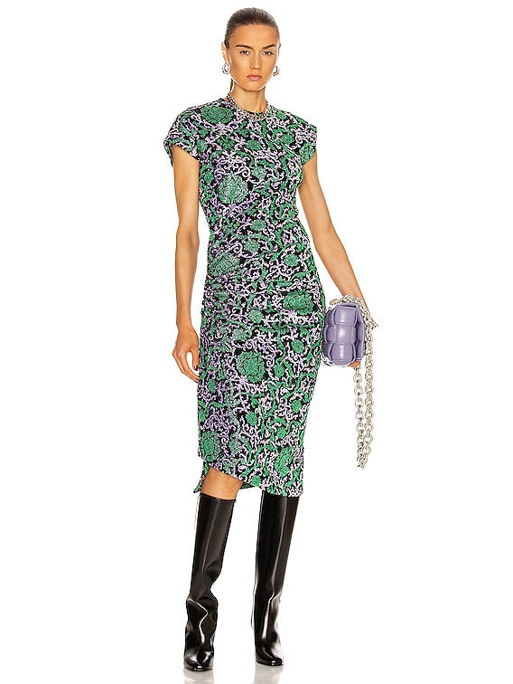 Printed Ruched Midi Dress in Purple & Green Damasse