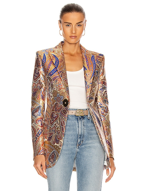Single Breasted Blazer in 70's Metal Paisley