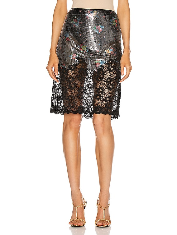Lace Trim Skirt in Black 90's Grungy Romant