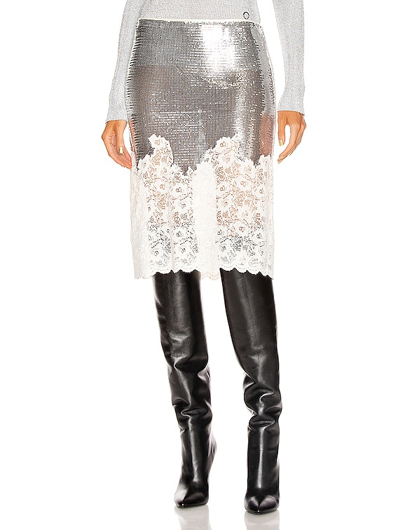 Mesh Lace Skirt in Silver