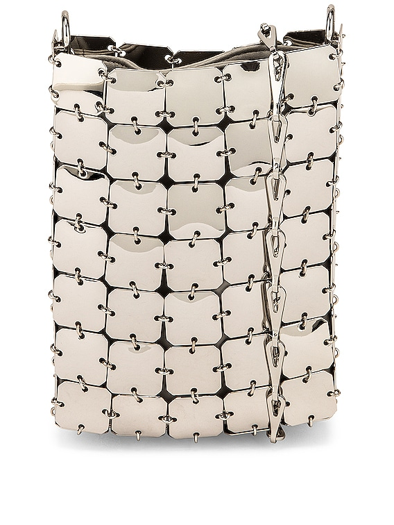Sac Soir Metallic Square Crossbody Bag in Silver