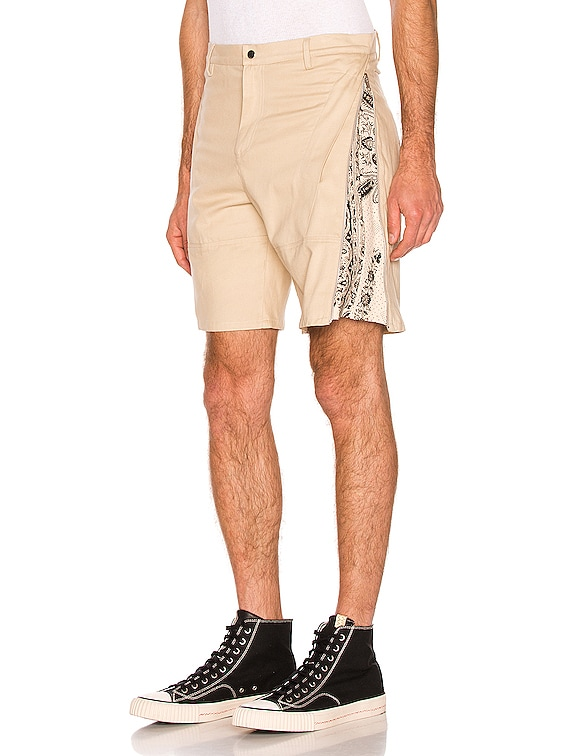 Brush Cotton Monochrome Zip Short in Natural