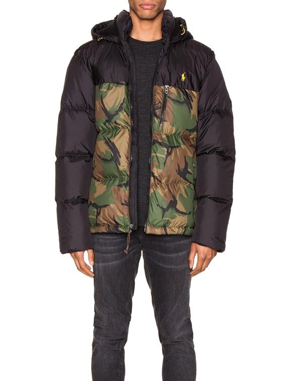 Polyester Down Jacket in Black & British Elmwood Camo